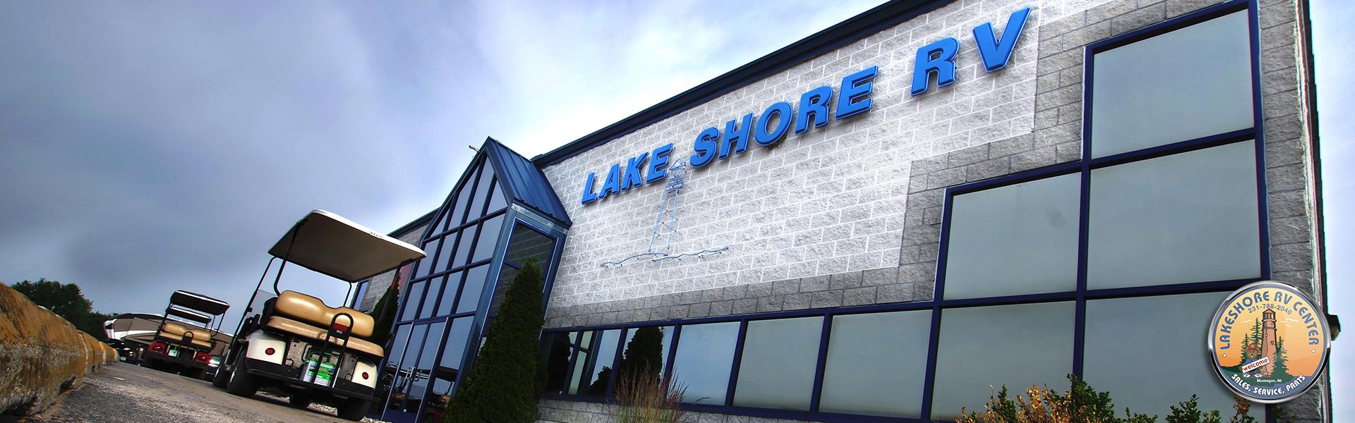 golfcarts-at-storefront-of-lakeshore-rv