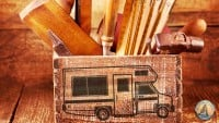 Rv old wooden tool box