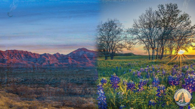 Texas Red Dirt Mountains And Bluebonnet Wildflowers