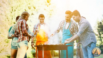 Friends grilling in the summertime