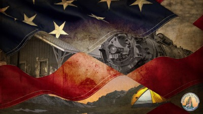 American flag with an image of camping under the stars and industrial train superimposed