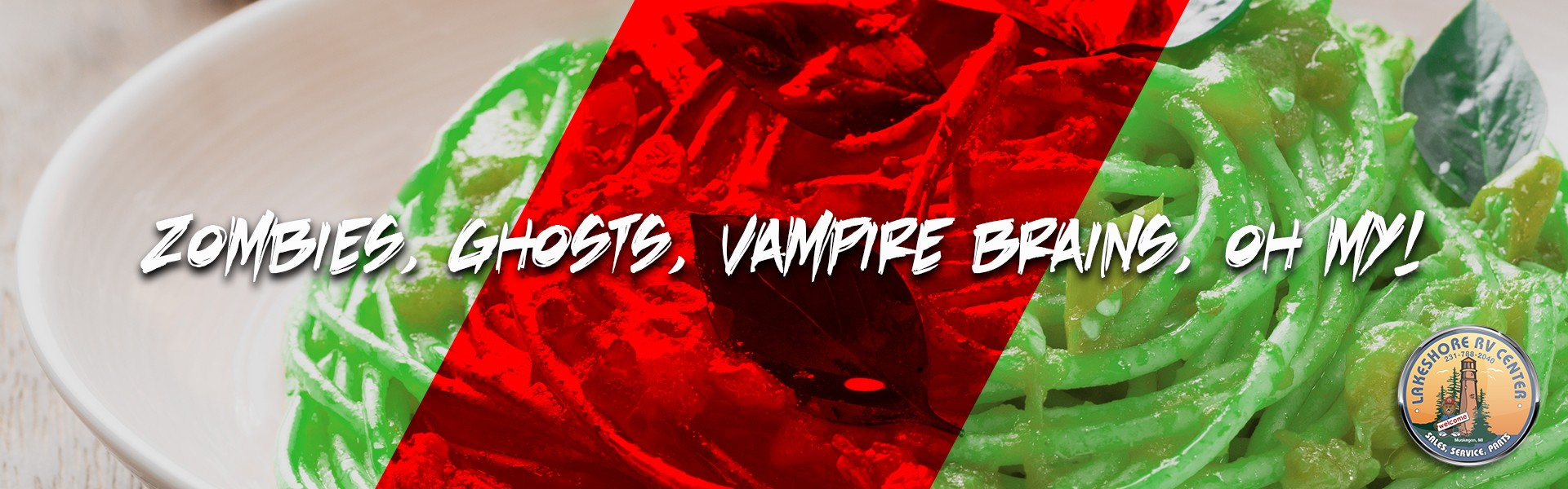 Zombies, ghosts, vampire brains, oh my! Green spaghetti dinner.