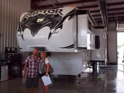 April Welch at Lakeshore RV with their Raptor 375TS