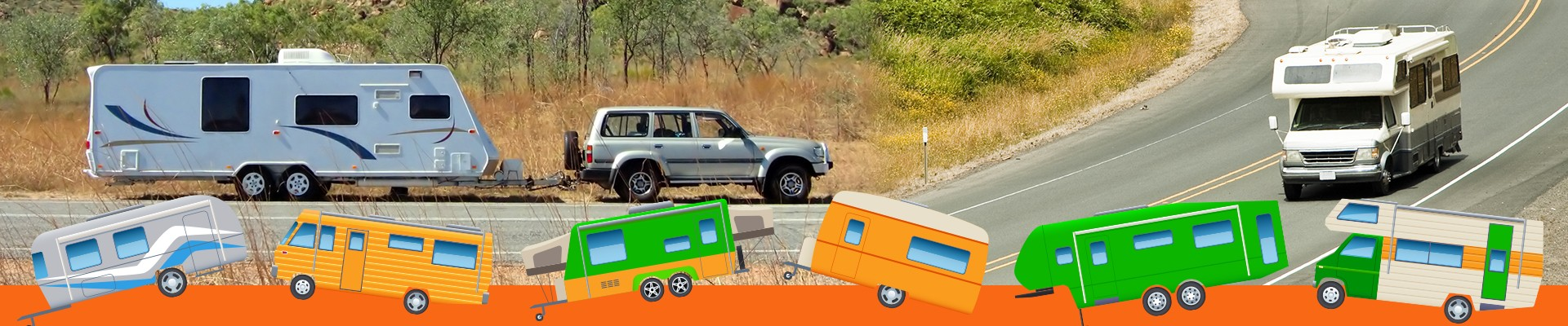 Motorhome and Jeep with a travel trailer RV on the road.