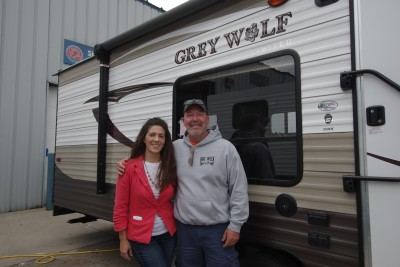 Paul Vliek at Lakeshore RV with their Grey Wolf 26RR
