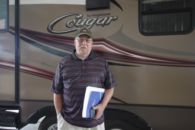 Kim Lees at Lakeshore RV with their Cougar Xlite 21RBS