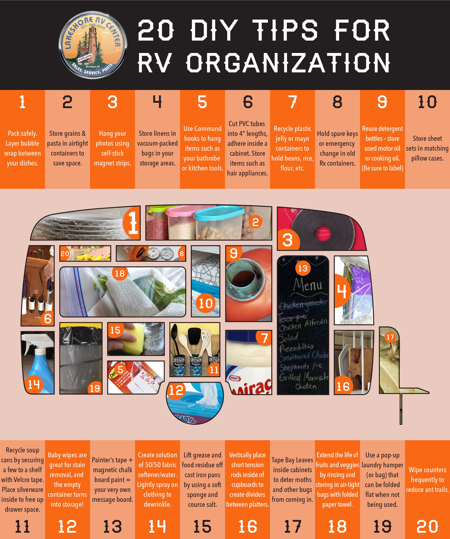 Lakeshore RV's 20 DIY Tips for RV Organization