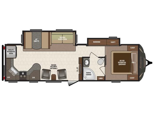 2016 Sprinter 295RKS Floor Plan Travel Trailer Keystone RV