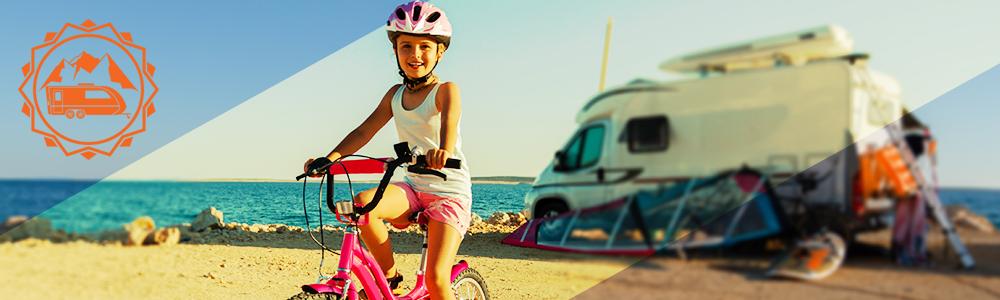 Kid on bike downsizing RV lifestyle