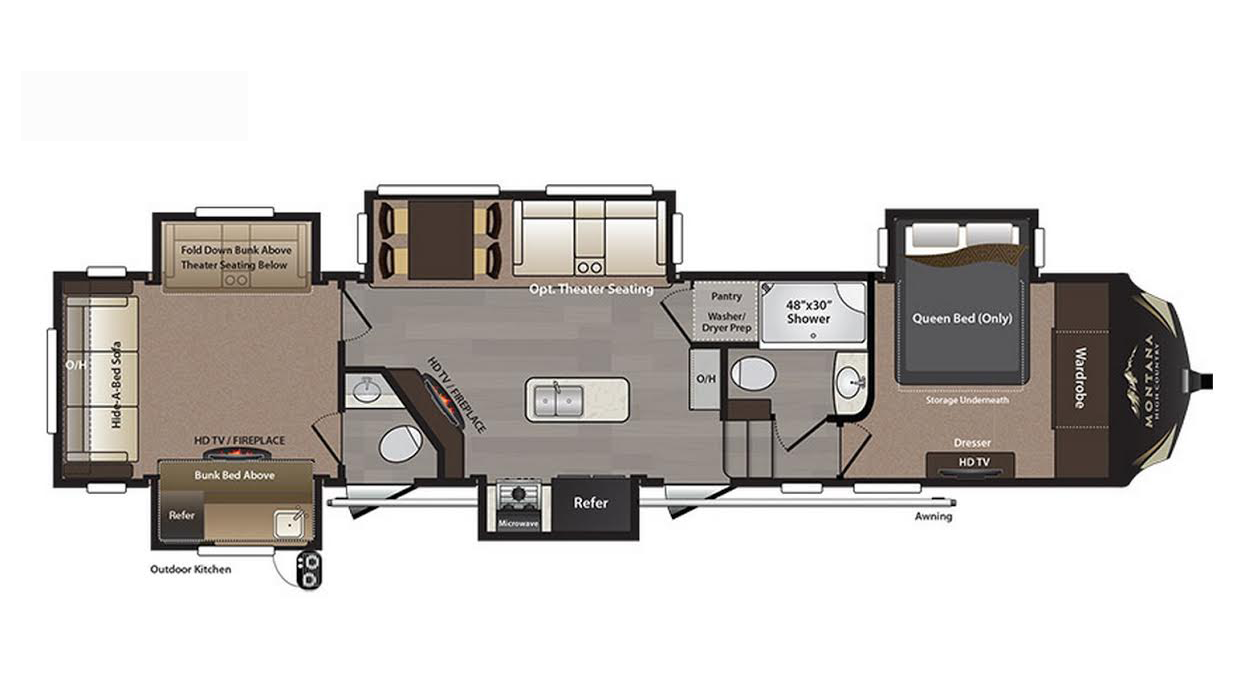 2018 keystone montana high country 362rd floor plan 5th wheel for Montana floor plans