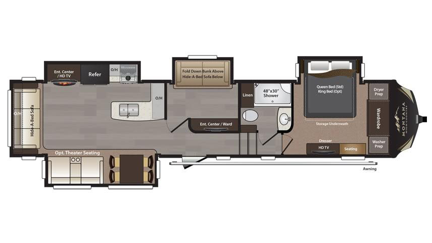2018 Keystone Montana High Country 370BR Floor Plan 5th Wheel
