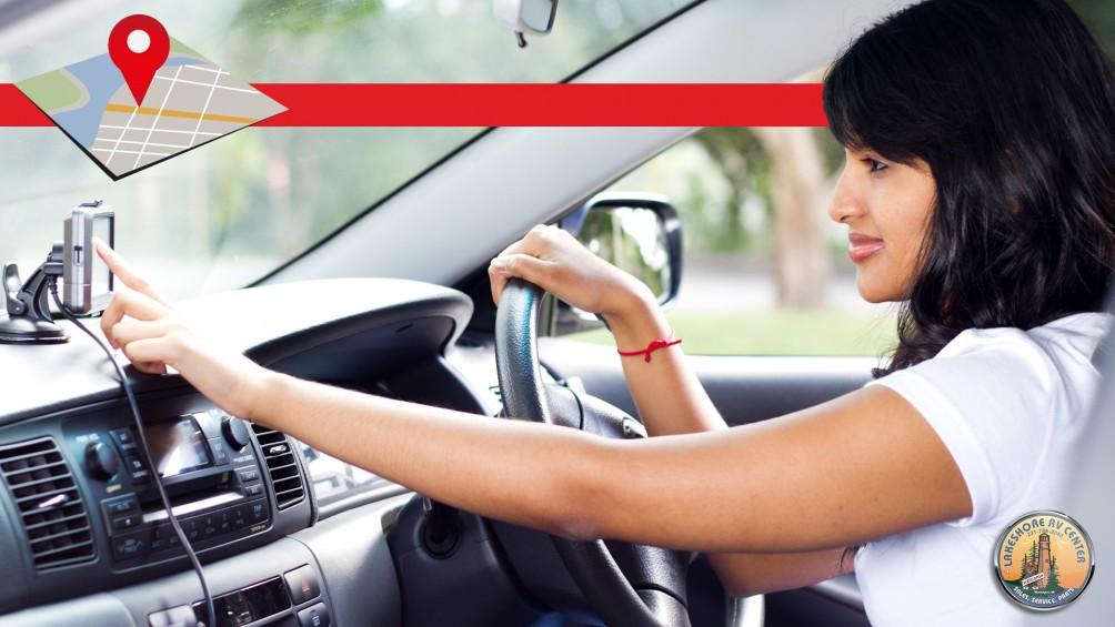 Woman Driver Using RV Gps Navigation System