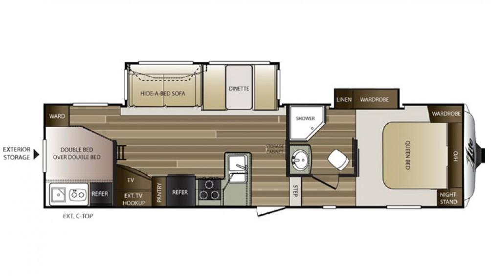 2016 Cougar Xlite 28rdb Floor Plan 3