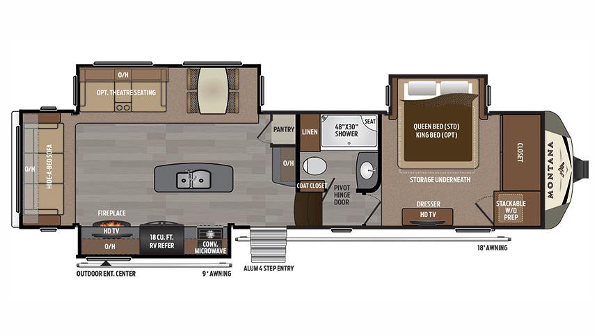 Keystone montana 3160rl 5th wheel for Montana floor plans