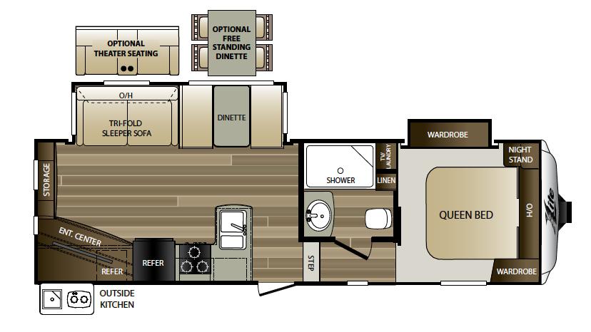 2018 Keystone Cougar Xlite 25RES Floor Plan 5th Wheel