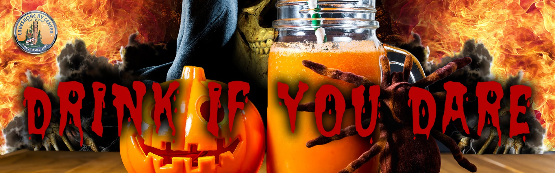 Drink if you dare. Skeleton reaching for Halloween drink.