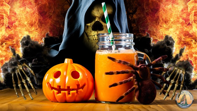 Skeleton Reaching For Halloween Drink