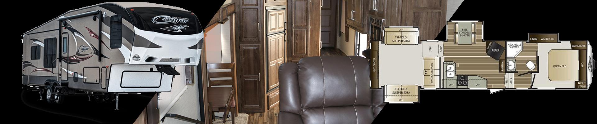 Keystone Cougar fifth wheel - interior, exterior and floorplan views.