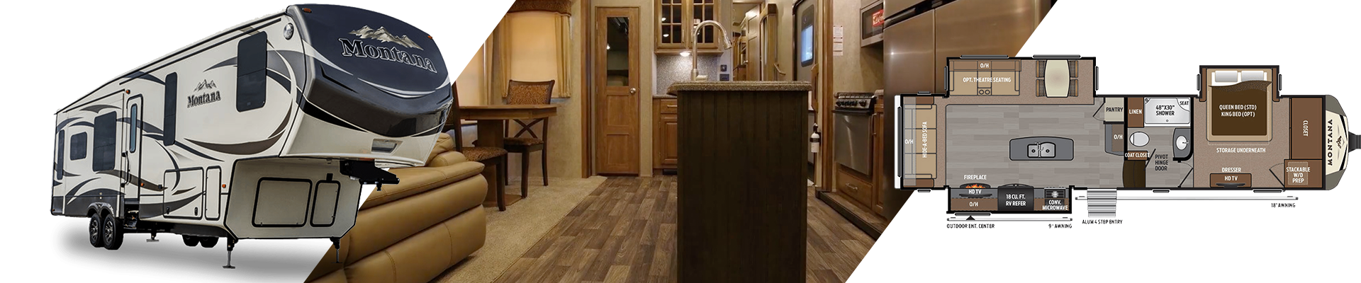Keystone Montana fifth wheel - interior, exterior and floorplan views.