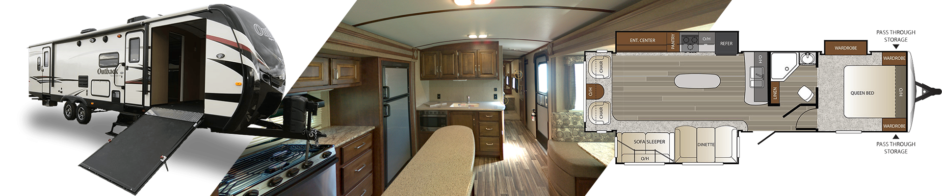 Keystone Outback travel trailer - interior, exterior and floorplan views.
