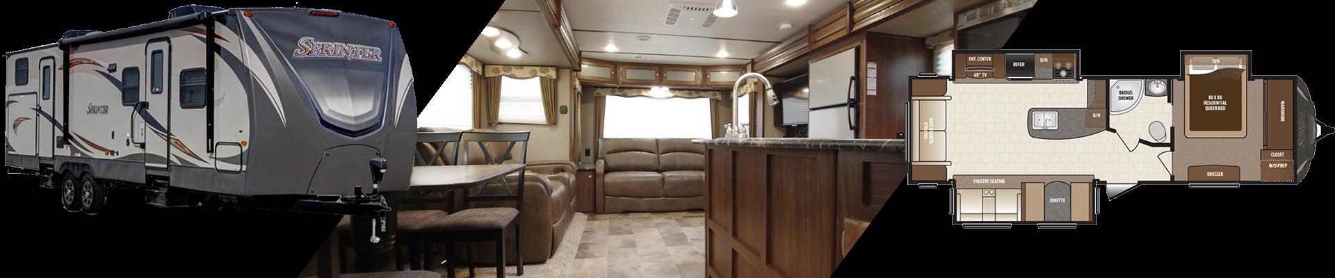 Keystone Sprinter travel trailer - interior, exterior and floorplan views.