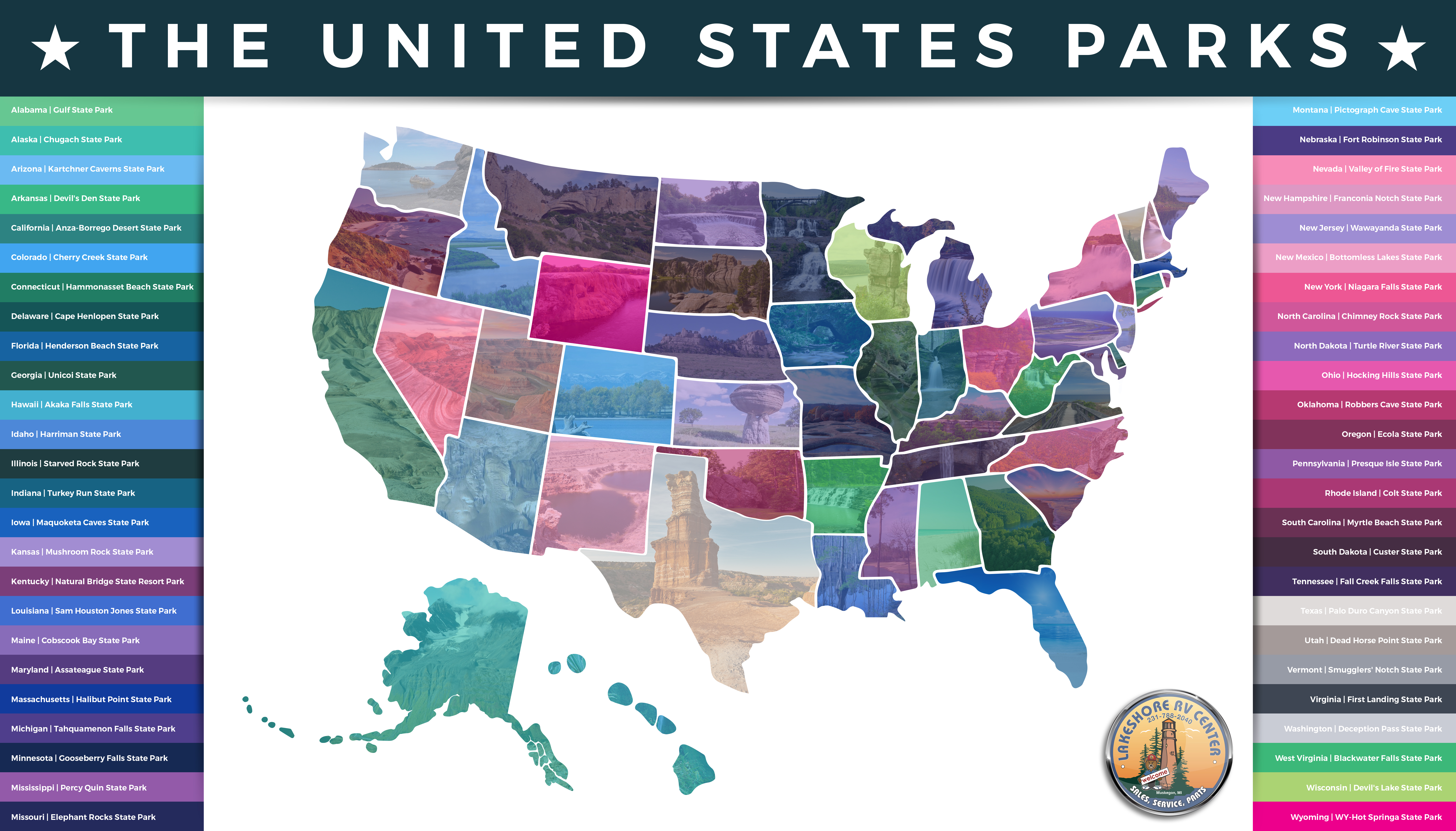 The United State Parks  Find The Top Park In All States Lakeshore RV - Florida map state parks