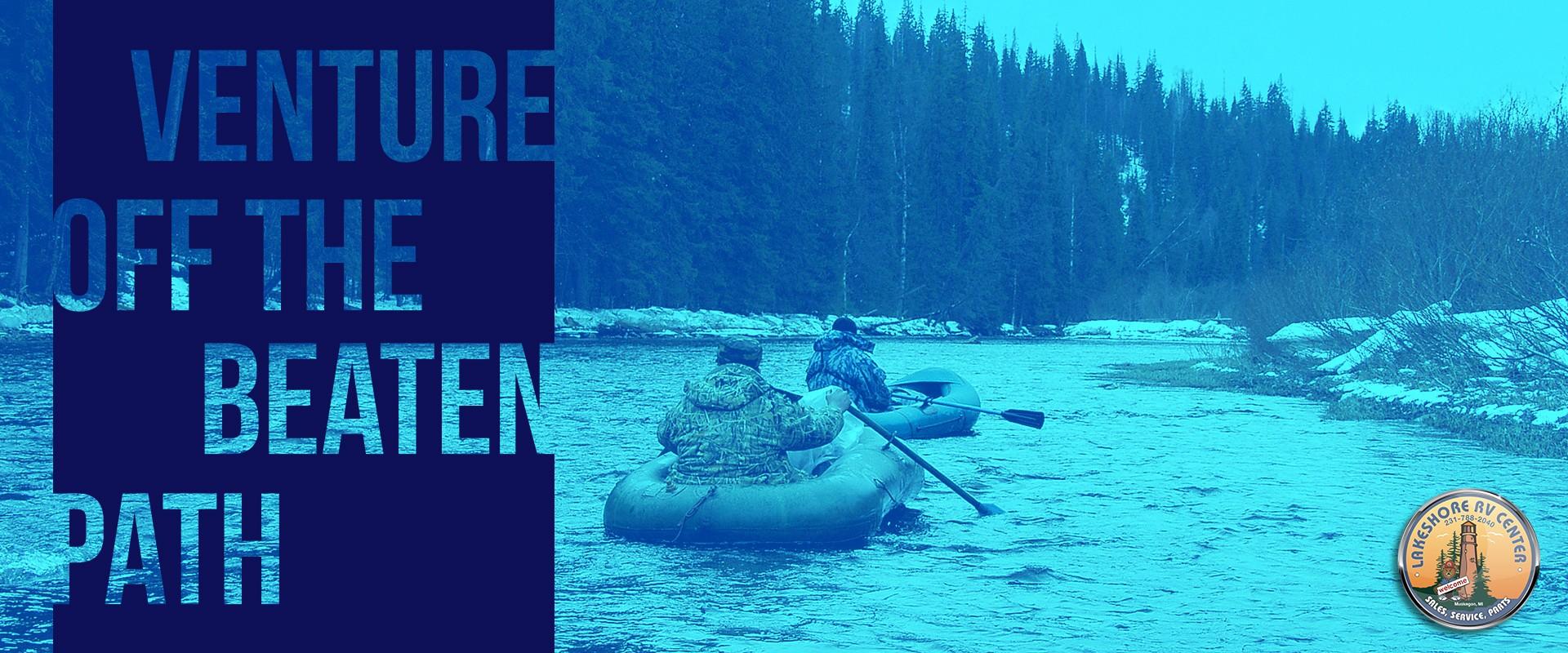 Winter water rafting in Michigan. Venture off the beaten path.
