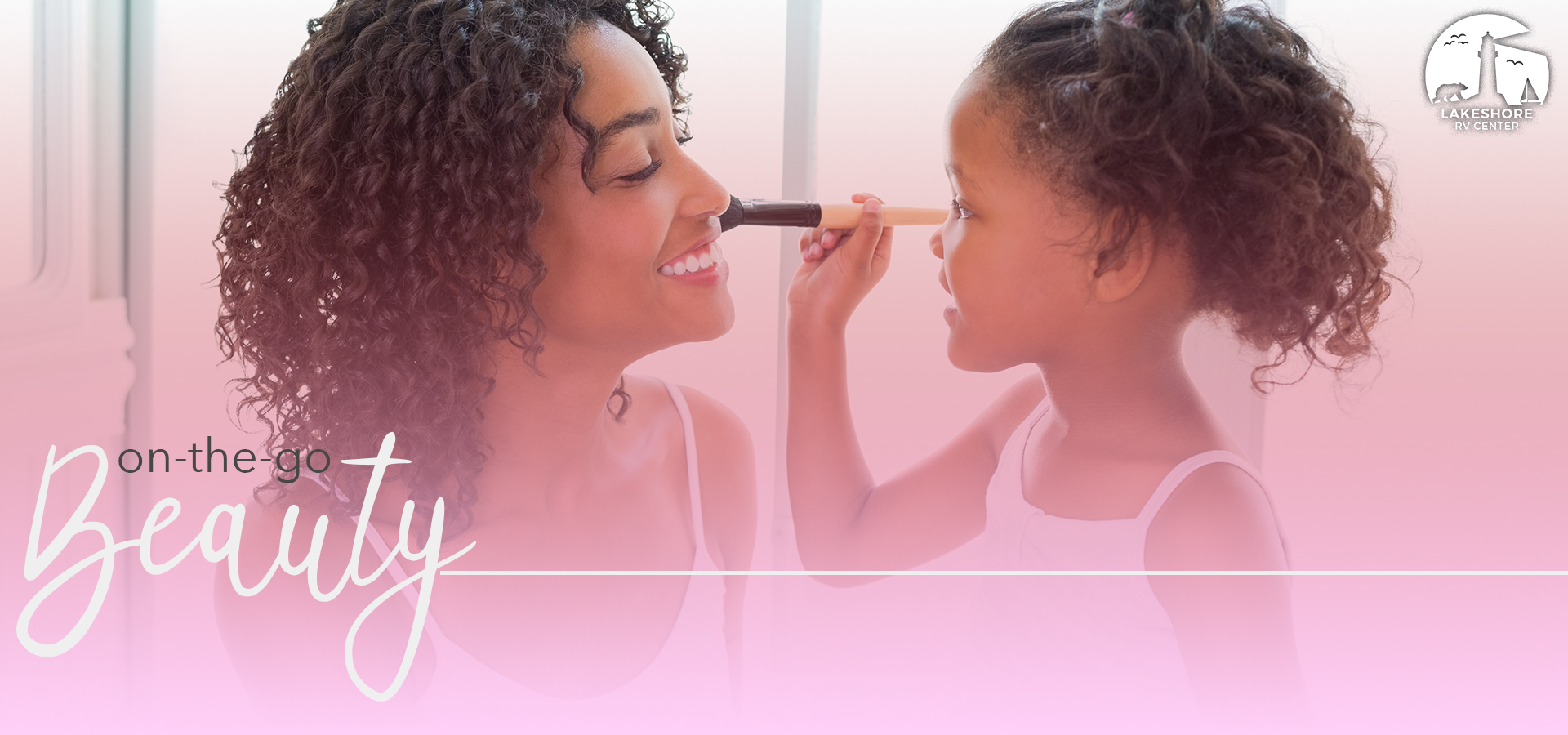 Daughter putting makeup on her mother