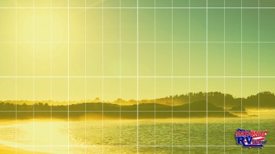 Solar lights pattern over image of lake and forest