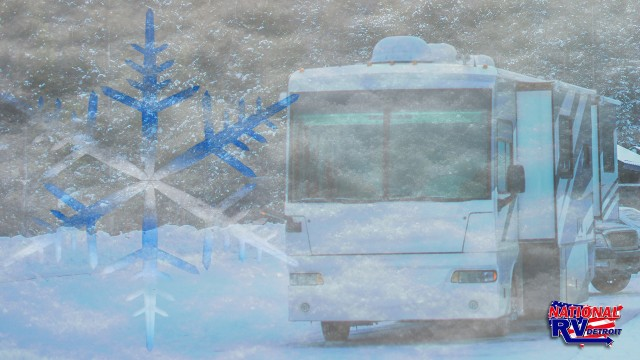 Motorhome RV camping in snow and winter