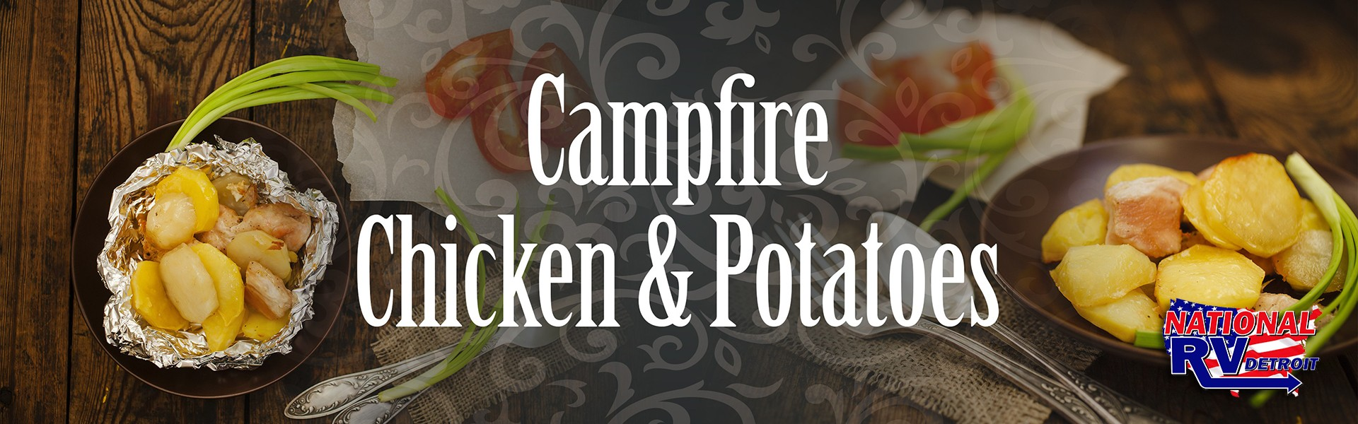 campfire chicken and potatoes banner