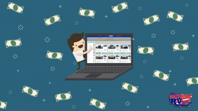 Money flying and man pointing to computer screen of RV listings