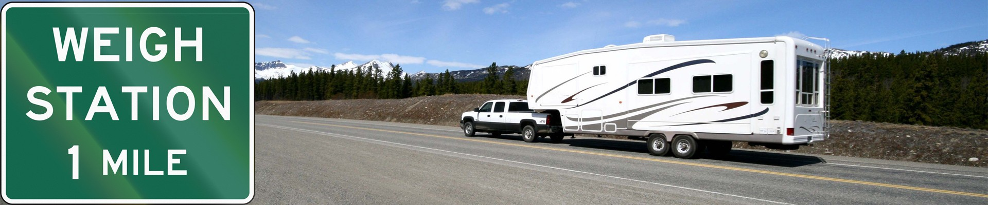 truck driving RV to weigh station