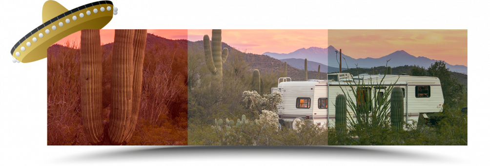 RV in the desert of mexico