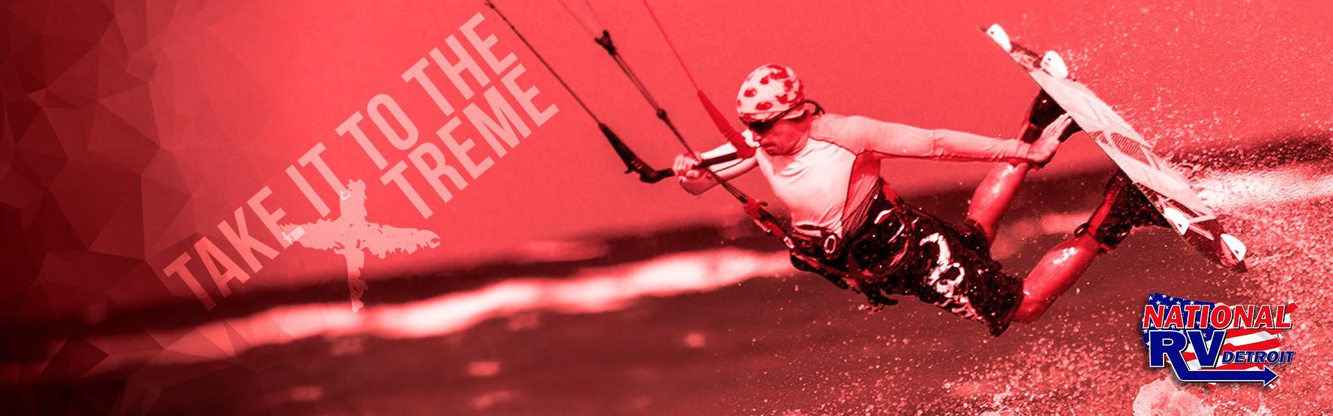 Take it to the xtreme - man kiteboarding