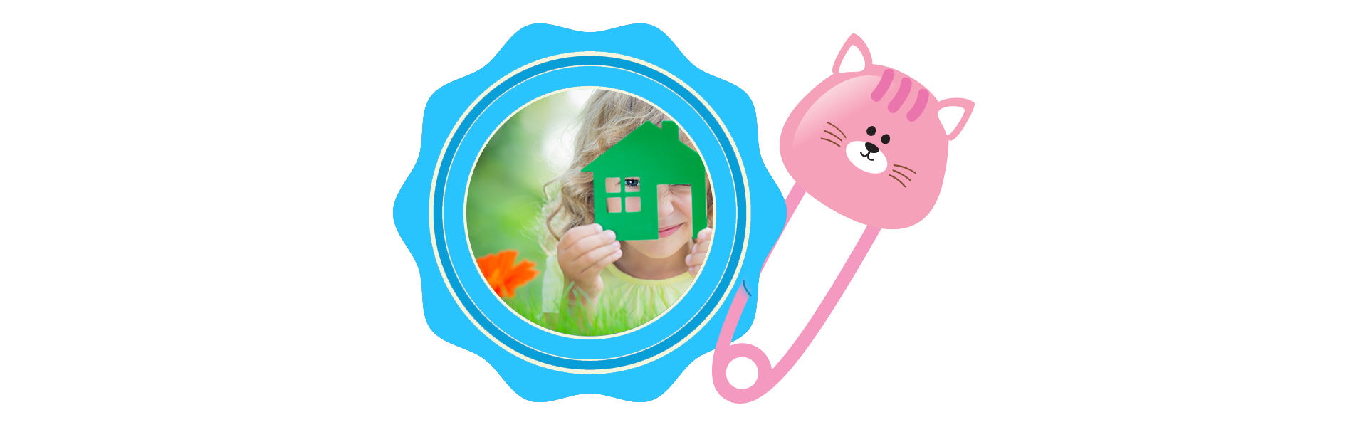 badge and baby pin of cat holding image of little girl and paper home