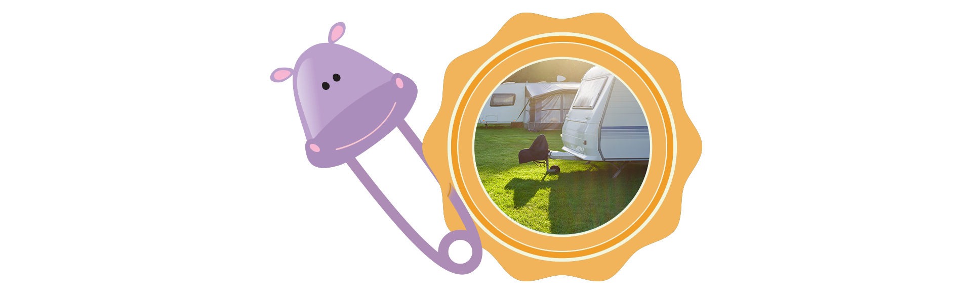 badge and baby pin of hippo holding image of travel trailer RVs on grass