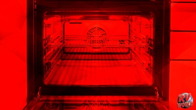 high contrast geometric red shapes and inside oven