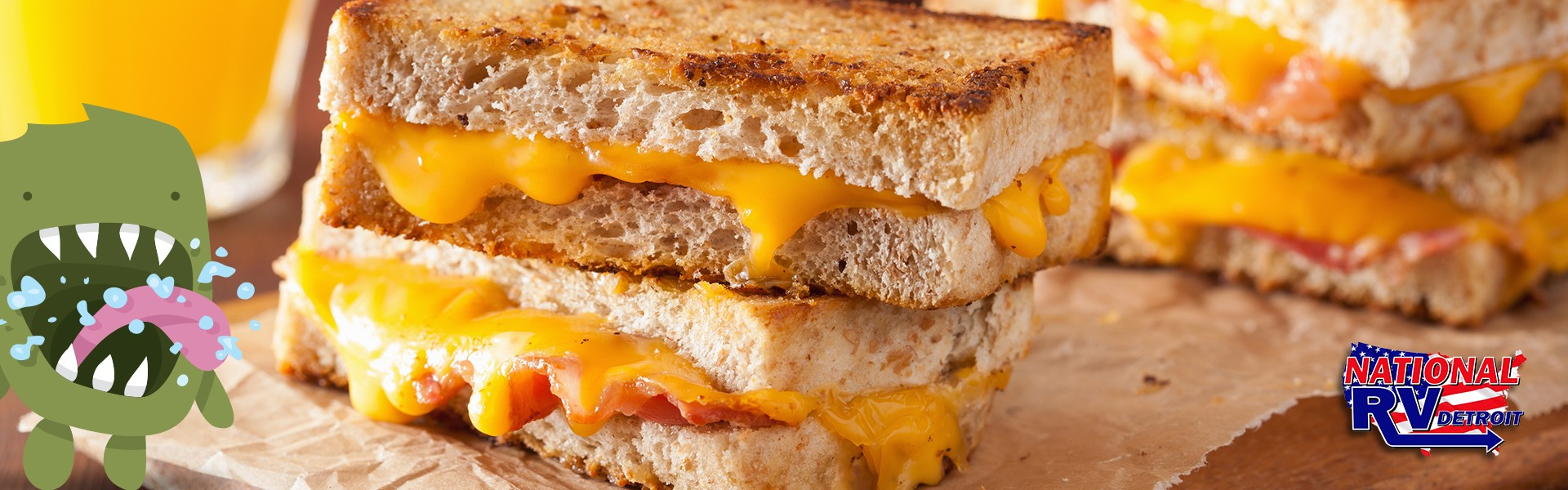 hungry monster and bacon grilled cheese sandwich