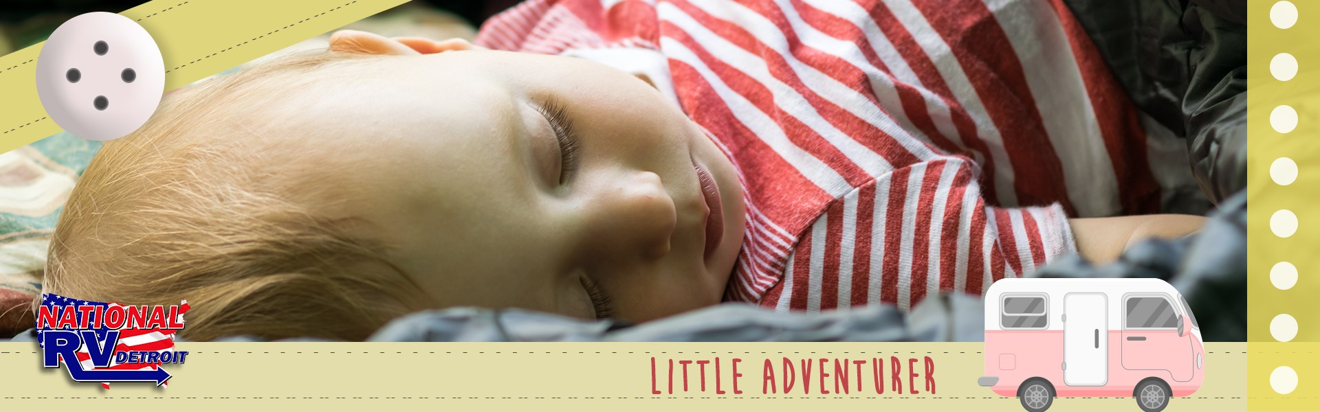 little adventurer - sleeping baby with illustrated ribbons and RV