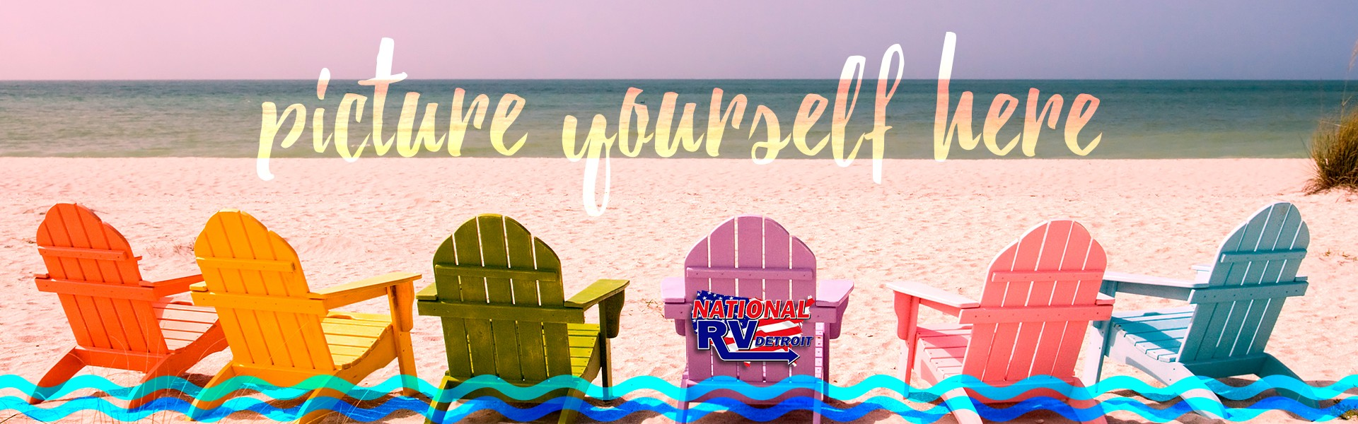 picture yourself here - colorful beach chairs lining oceanfront