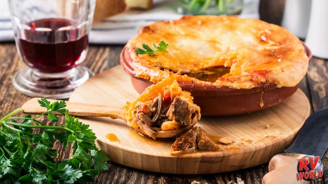pot pie dinner with red wine