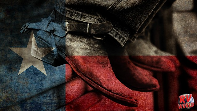 rodeo boots and spurs and the Texas flag