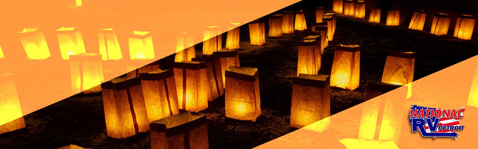 Paper Lanterns at night and orange stripes