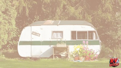 old rv and outdoor decorations