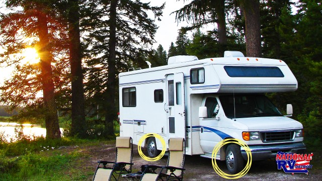 RV in the woods with matching tires