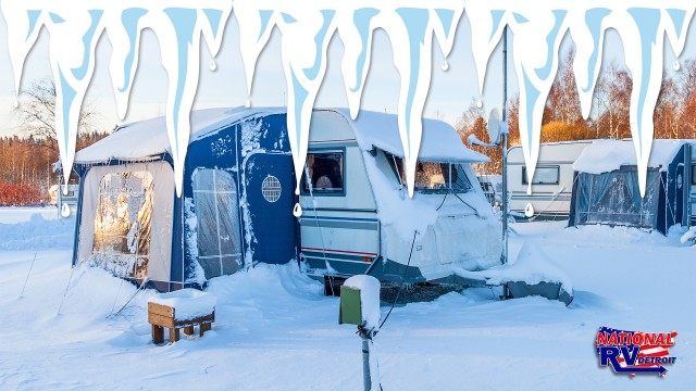 Rv in snow with ice sickles