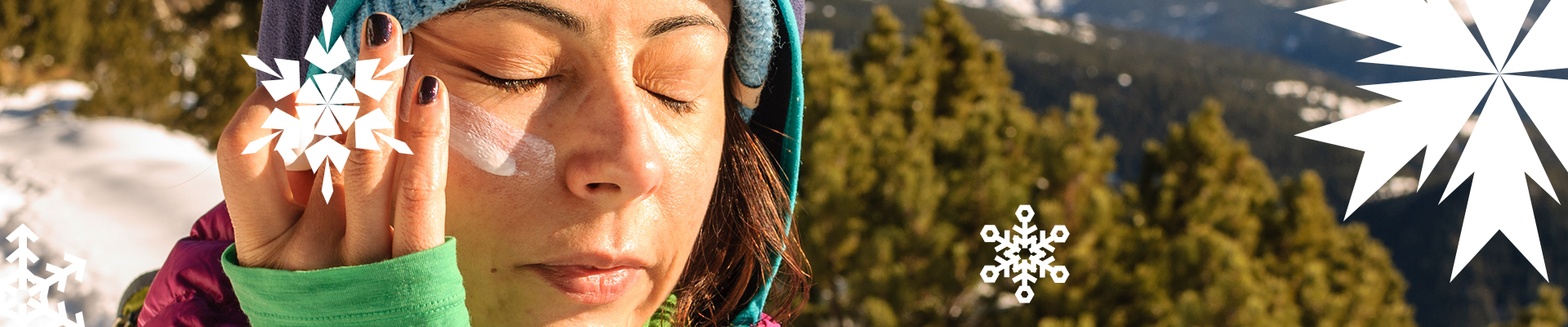The sun is still powerful in winter - be sure to apply sunscreen to protect your skin.