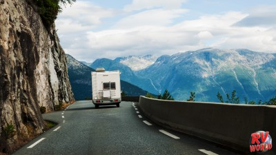 RV going through mountain ranges