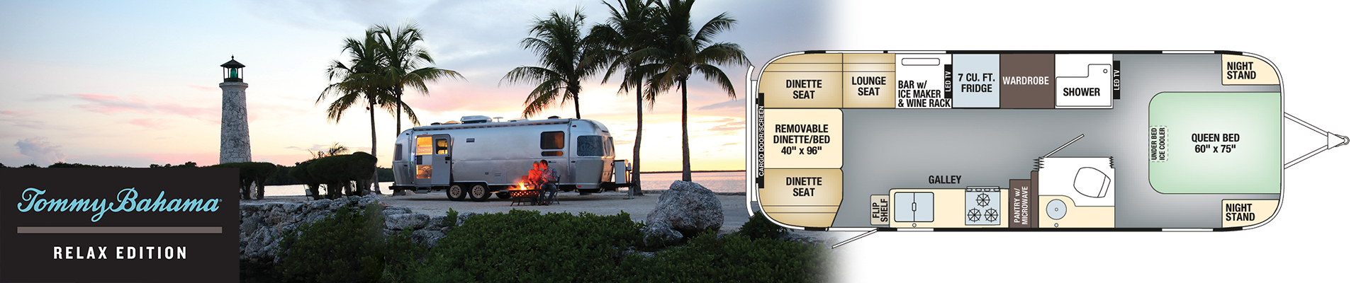 Airstream Tommy Bahama RV available at NationalRV Travel Trailer with floorplan